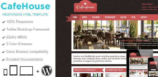 Responsive WordPress Templates - cafehouse_html_wide