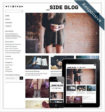 creative wordpress themes - side-blog-theme