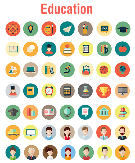 travel vector icons - education
