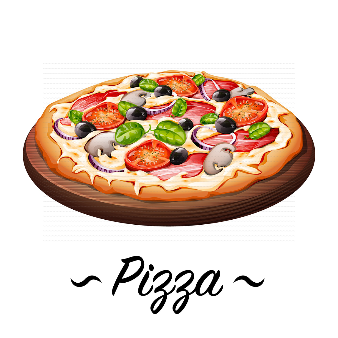 free vintage vector - fresh hot pizza on a wooden plate on white background