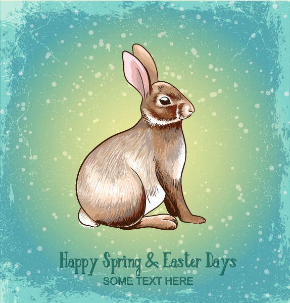 free stock photos - Vector illustration with spring and bunny