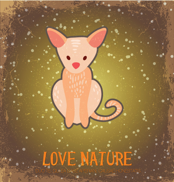 free stock photos - Vector illustration with nature and fox