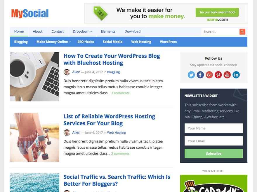 MySocial-Happy Themes-Best Responsive WordPress Themes