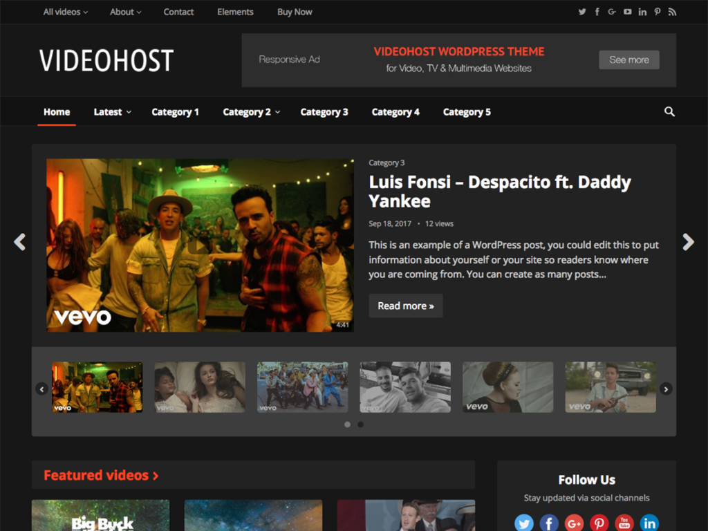 VideohostHappy Themes-Best Responsive WordPress Themes